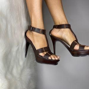 Guess ankle strap wood and leather heels